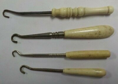 Antique Mini Child's Victorian Button Hooks Bakelite Handles / Lot of 4