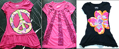 JUSTICE Pnk Blck Purpl GLITTERY SEQUINS RUFFLED Girls Knit TUNIC TOP DRESS 6 7 8