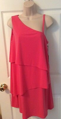 NEW Vince Camuto Size 10 Coral Asymmetrical Tiered Dress Poly/Spandex NWT $118