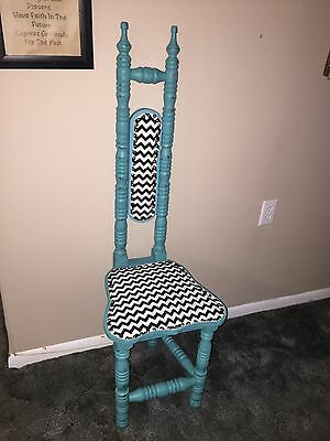 Antique VTG 1920's JACOBEAN Chair Carved Narrow High Back Wood Refurbished RARE