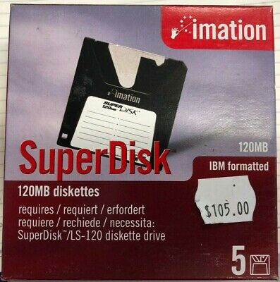 Pack of 5 Imation SuperDisk 120MB Diskettes Old Stock - as new