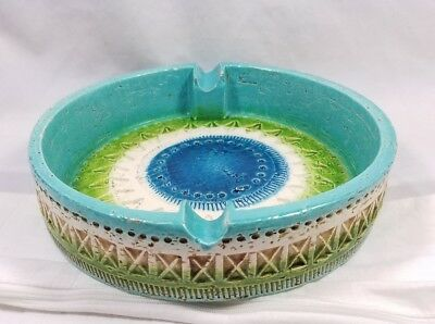 "Bitossi Mid-Century Modern Italian Pottery Large 8"" Across Blue Green Ashtray"