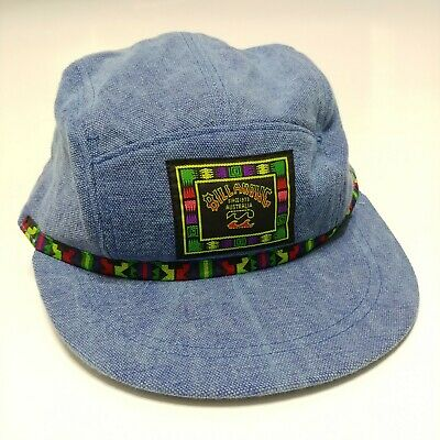 0902abf467e Billabong 5 Panel Washed Denim Strapback Hat Vintage 1990s DeadStock Surf  Beach