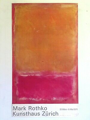 Mark Rothko Rare Vtg 1971 Abstract Expr Lithograph Print Lrg Swiss Exhbtn Poster
