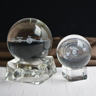 60mm 3D Solar System Crystal Ball Sphere Engraved Planets Model Gift Home Decor