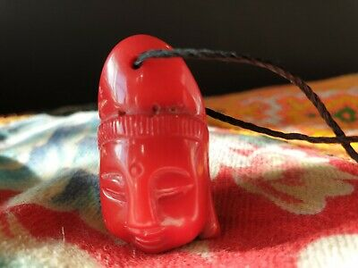 Old Carved Red Coral Buddha on Black Cord (b) …beautiful accent & collection pie
