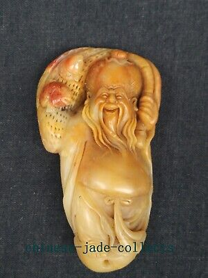 China Shoushan Stone Carved Exquisite God of Longevity Hand Hold Article Gift