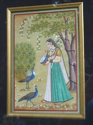 Antique  PERSIAN SCENE HAND PAINTED ON SILK ORIENTAL ART FRAMED