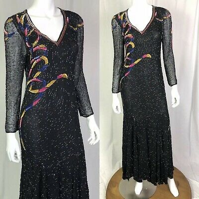Vintage Jasdee Small Black Hand Beaded Silk Chiffon Maxi Gown Dress Evening
