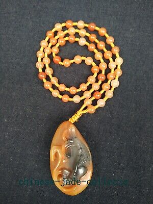 100% Natural Hand-carved Chinese Jade Pendant Jade Necklace Fish Wonderful Gift