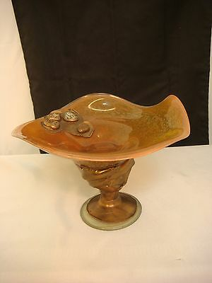 Copper Arts & Crafts Glass Compote Bowl Footed Eartht S. Artisan Hand Made