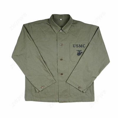 WW2 WWII US GREEN USMC HBT Army Field Coat Jacket Marked US Collection in Size