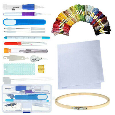 DIY Embroidery Pen Knitting Sewing Tools Set Punch Needle Kit + 50 Threads Hot