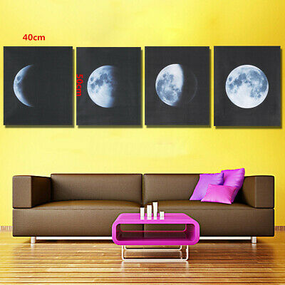 US 4Pcs Canvas Prints Wall Art Painting Pictures Home Office Decor Abstract Moon