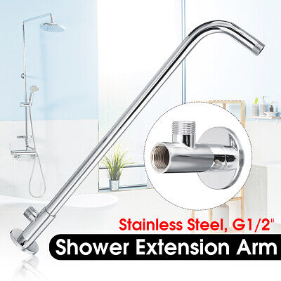 Stainless Steel Wall Shower Head Extension Pipe Long Arm Mounted Bathroom+Base