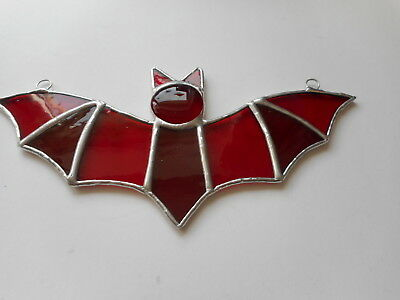 Stained Glass RED Bat Suncatcher or Wall Mount.