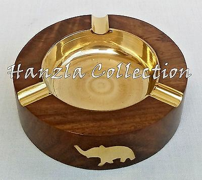 Antique Brass Wooden Vintage Cigarette/ Cigar Smoking Ashtray Collectible Gift