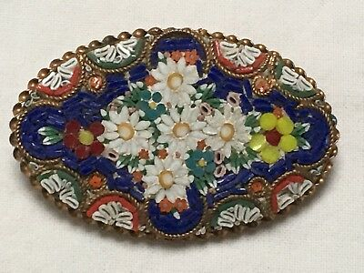 Large Antique Art Deco 1930s micro mosaic flower brooch 5 cm made in Italy