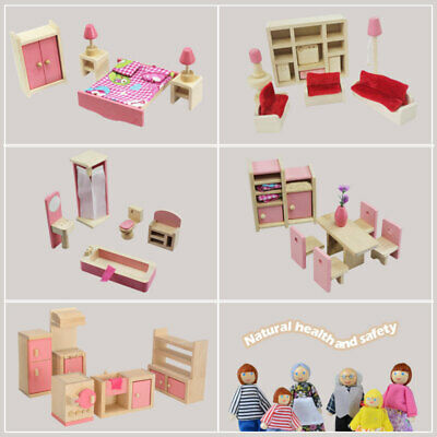 Miniature 6 Room Furniture Wooden Dolls House For Kids Children Toy Gifts Hot