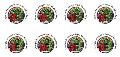24 Personalised Hulk, Birthday,Goody Bag Stickers Label Party Thank You