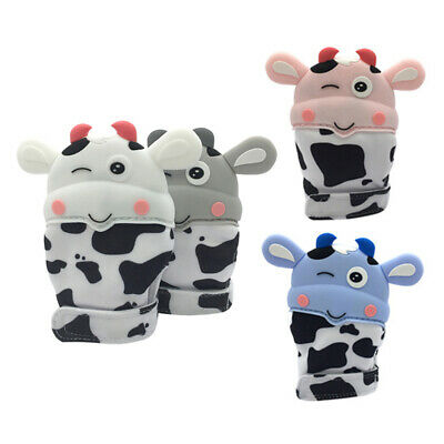 2pcs Cute Newborn Baby Cow Teething Silicone Mittens Gloves Teether Anti Scratch