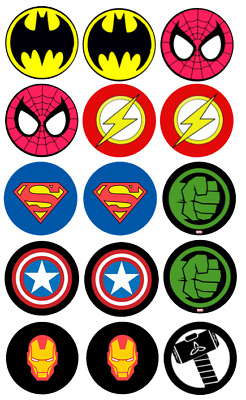 15 Pre-Cut Edible Icing Super Hero Marvel Logos Cupcake Cake Icing Toppers