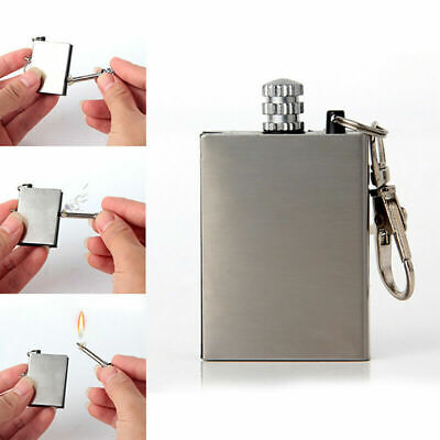 Survival Liquid Metal Permanent Match Striker Lighter Flame Fire Key Box Chain