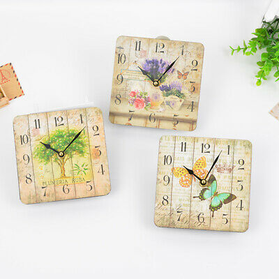15CM Vintage Wooden Wall Clock Shabby Chic Rustic Kitchen Home Antique Decor