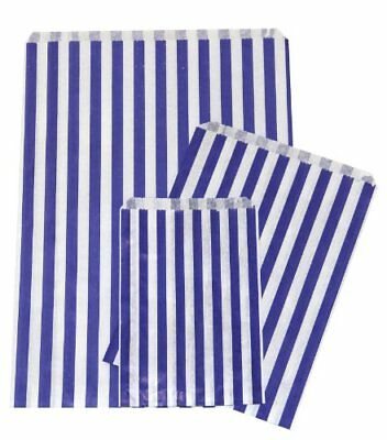 New 100 x Quality NAVY BLUE Candy Stripe Paper Bags, 5 x 7 Inches -Sweets, Party