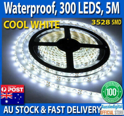 5m Flexible LED Bright Strip Lights 12V Waterproof 5050 SMD Cool White 300 LEDS