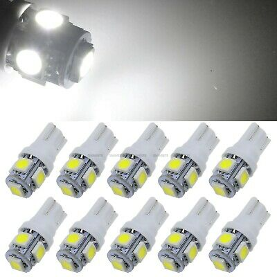 10 X White 5050 LED 5 SMD T10 194 168 158 W5W 501 Side Car Wedge Light Lamp Bulb