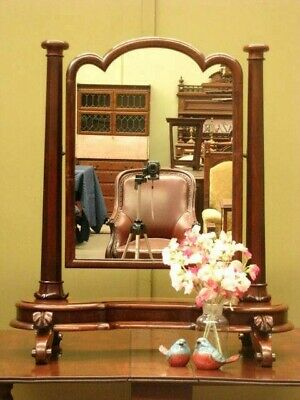 LARGE ANTIQUE CARVED MAHOGANY TOILET MIRROR / DRESSING TABLE MIRROR ~  c1880s