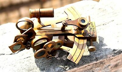 Brown Antique Nautical Sextant 4 Inch Vintage Solid Brass Marine Small Gift .