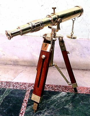 Antique Nautical Navy Brass Barrel Telescope With Wooden Tripod Stand For Decor