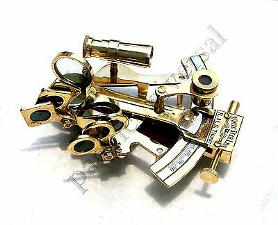 """4"""" Solid Brass Sextant Nautical Working Instrument Astrolabe Ships Maritime Gif"""