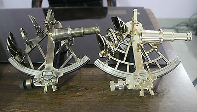Set of 2 Solid Brass Sextant Vintage Maritime Ship Working Instrument Best Gift.
