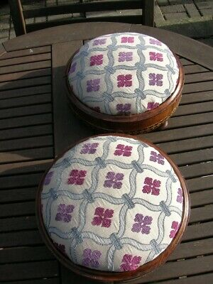 Pair Victorian Inlay FOOT STOOLS Upholstered Removeable Top Wooden Feet 11.5in D