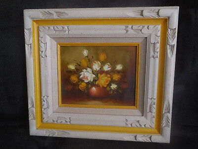 "Art Original18"" x 16"" Vintage rose oil painting in original frame   hand painted"