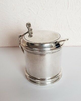 Antique Silver Plate EPBM Mustard Pot with unusual CERAMIC LINER - 8cm high