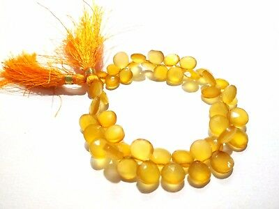 """1 Strand Natural Yellow Chalcedony Heart Faceted 8-10mm Beads 125Cts/8""""inch"""