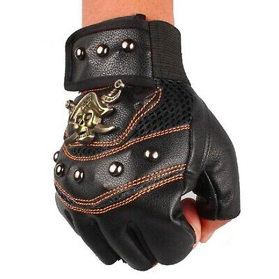 Steampunk Skeleton Pirate Leather Look Fingerless Gloves Costume Studs