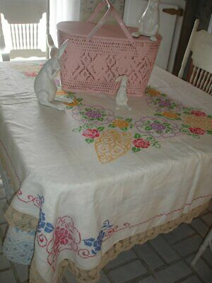 Easter Spring Gorgeous Vintage Large Linen Tablec Loth*White With Multi Color Fl