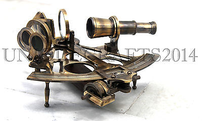 Antique Brass Sextant Working Nautical Vintage Maritime Reproduction Navigation.