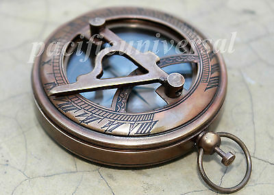 Nautical Sundial Compass Push Button Compass Antique Brass Camping Compass Decor