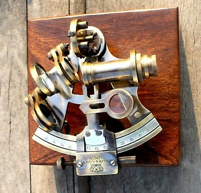 Nautical  Marine Collectible Sextant With Wooden Box Vintage Navigation Gift 4""