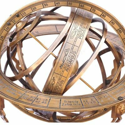 "18"" Solid Brass Large Engraved Nautical Sphere Globe Armillary Sundial Compass."
