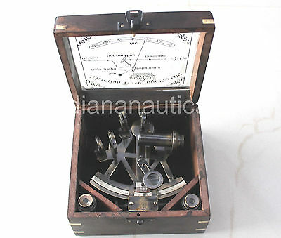 Antique Brass working Sextant With Box Marine Vintage Navigation Astrolabe Gift