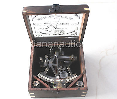 Antique Nautical Marine Style Sextant-Decorative Brass Sextant With Wooden Box.