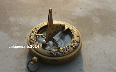 Vintage Antique Brass Nautical sundial Push Button Compass Marine Replica Gift