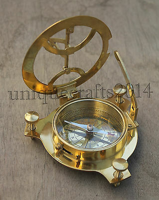Vintage Maritime West London Brass Sundial Compass Pocket Compass Ship Working .